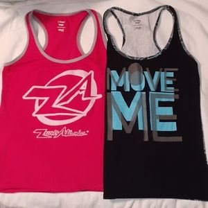 2 Zumba Tank Tops ZumbAtomic Instructor Move Me Lg